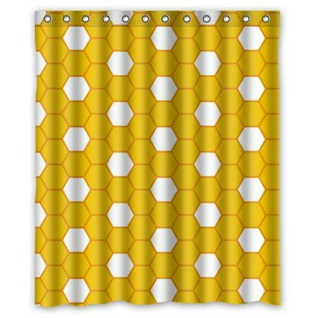 ARTJIA Yellow White Beehive Pattern Waterproof Bathroom Fabric Shower Curtain 60x72 (Beehive Water)