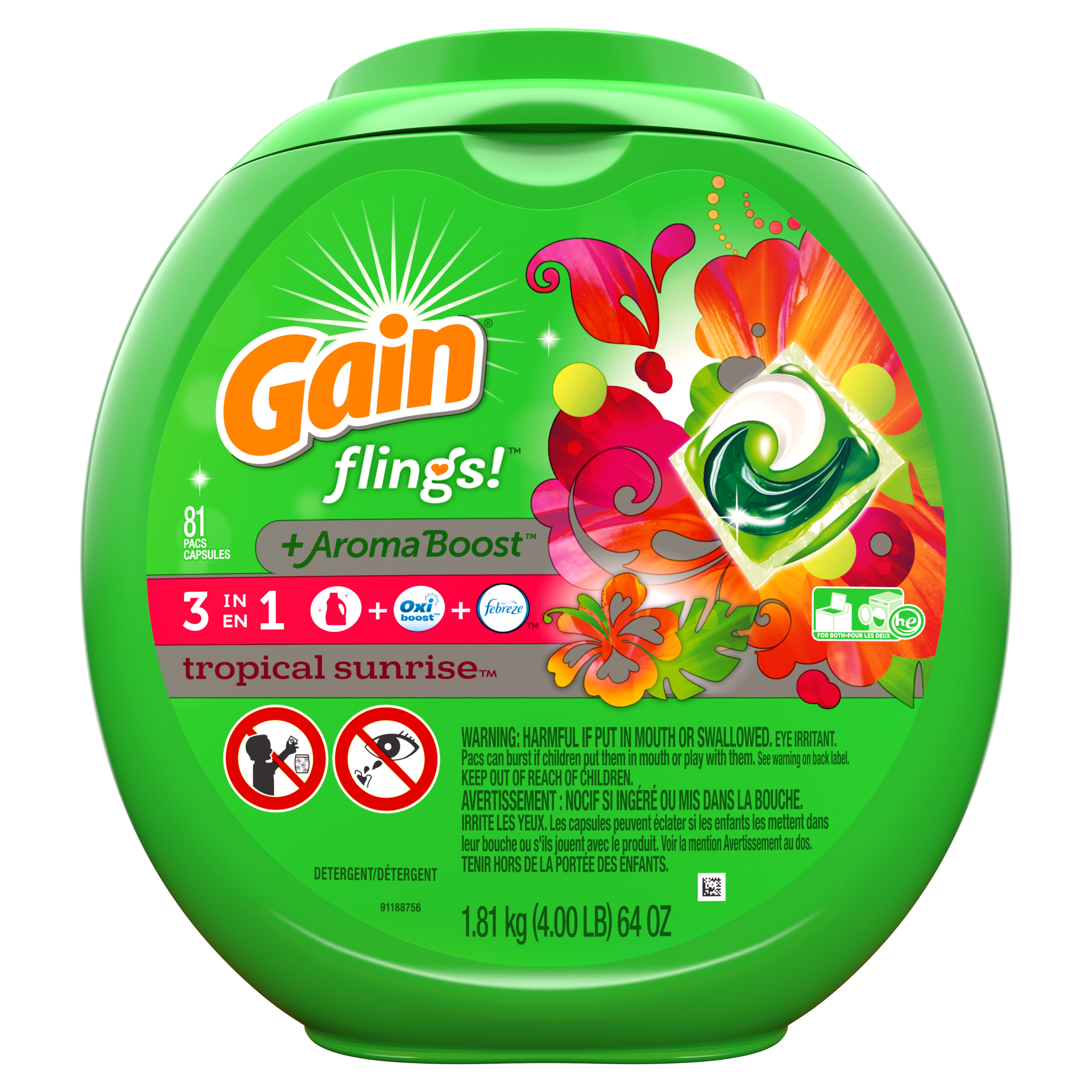 Gain flings! Liquid Laundry Detergent Pacs, Blissful Breeze, 81 count