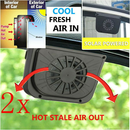 2Pcs Solar Power Car Window Fan Auto Air Vent Cool Fan Cooler Ventilation System Radiator Fan For Universal Vehicle Auto car solar fan SUV Van Truck