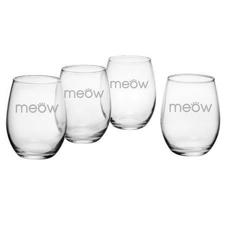 Susquehanna Glass Meow Stemless Wine Glass (Set of 4) - Halloween Decorated Wine Glasses