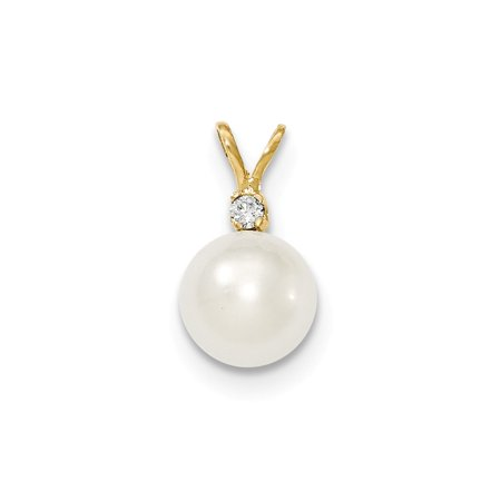 14k Yellow Gold 9-10mm Round White South Sea Cultured Pearl Diamond Pendant For