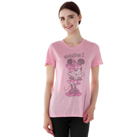 Juniors Minnie Mouse Rhinestones High-Low T-Shirt Pink for $<!---->