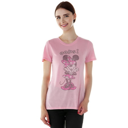 Juniors Minnie Mouse Rhinestones High-Low T-Shirt Pink](Minnie Mouse Skirt)
