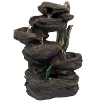 "Best Choice Products Home Indoor 10"" 6-Tier Tabletop Fountain Waterfall w/ Multicolor LED Lights, Base Padding"