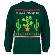 Cactus Desert Feliz Navidad Ugly Christmas Sweater Mens Sweatshirt Forest Green MD