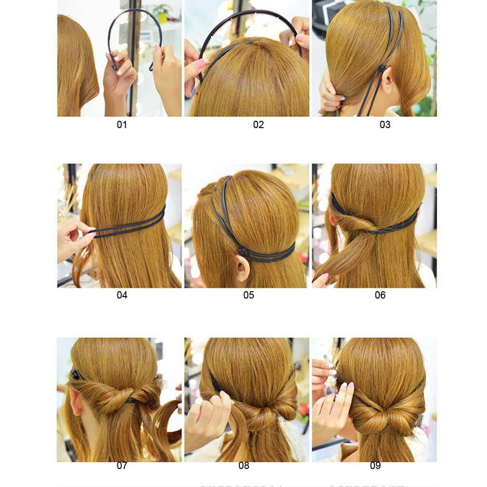 Women Girl Double Root Hair Elastic Headband HairBand