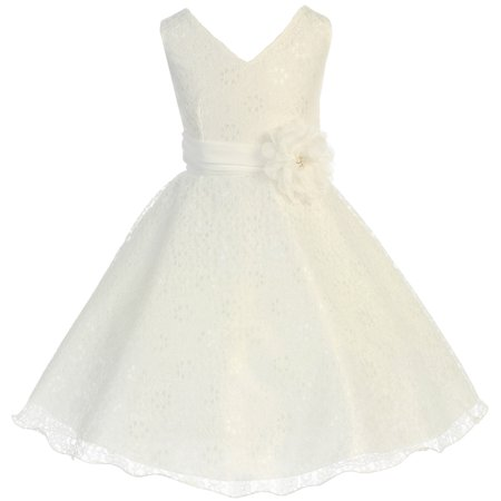 Little Girl V Neck Lace Overlay Chiffon Belt Flower Corsage Flower Girl Dress Ivory 2 - Ivory Chiffon Overlay