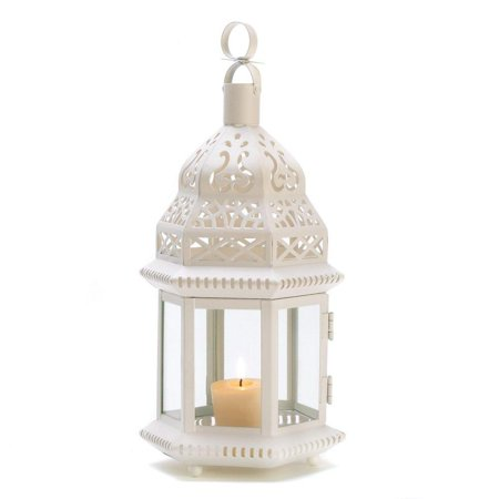 Gifts & Decor White Moroccan Style Hanging Candle Lantern Centerpiece, Metal and Glass By Gifts -