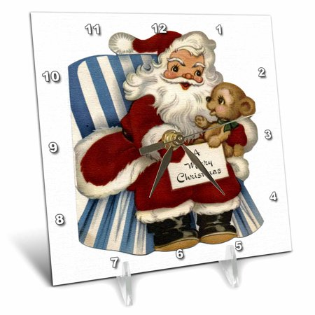 (3dRose Cartoon Santa Sitting in Chair with Bear Cub Wishing a Merry Christmas, Desk Clock, 6 by 6-inch)