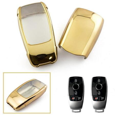 Xotic Tech TPU Full Sealed Keyless Key Fob Cover For Mercedes Benz E-Class  E300 E400 S-Class S63 AMG-Gold