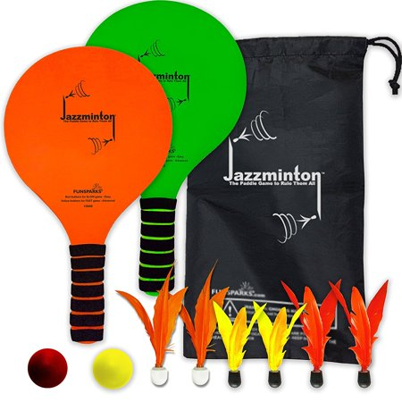 Wooden Paddle Ball Game Jazzminton Deluxe LED 441 in 41 Paddle Ball Game IndoorOutdoor 36