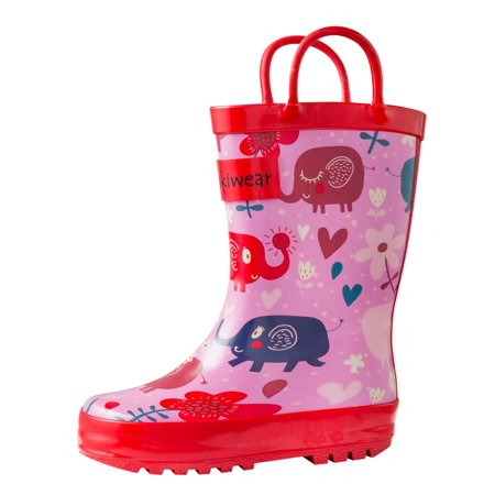 Oakiwear Kids Rain Boots For Boys Girls Toddlers Children - Pink Elephants ()