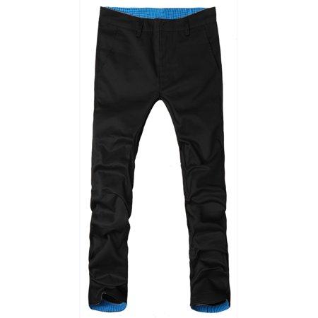 Unique Bargains Men's Fashion Roll-up Plaid Casual Slim Fitted Pants Trousers Black W30 - image 1 de 1