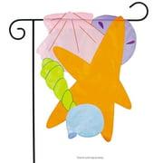 """Seashells Summer Applique Garden Flag Nautical Beach 12.5"""" x 18"""""""
