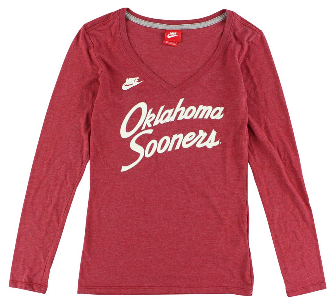 Nike Womens Oklahoma Sooners Rewind Script Long Sleeve T Shirt Heather Red by