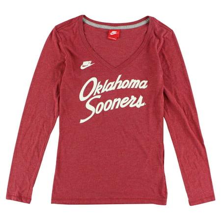 Nike Womens Oklahoma Sooners Rewind Script Long Sleeve T Shirt Heather Red