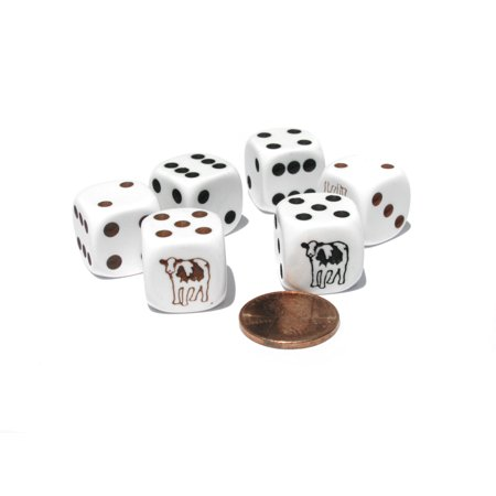 Three Man Dice (Koplow Games Set of 6 Cow Dice 16mm D6 Rounded Edge- 3 White w Brown and 3 White w Black)