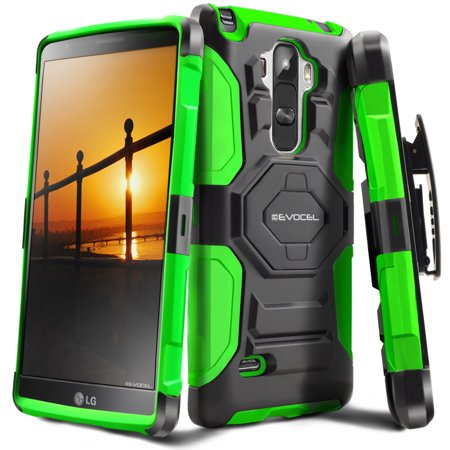 Evocel  Lg G Stylo  2015   New Generation  Rugged Holster Dual Layer Case  Kickstand  Belt Swivel Clip  For Lg G Stylo  2015   Green
