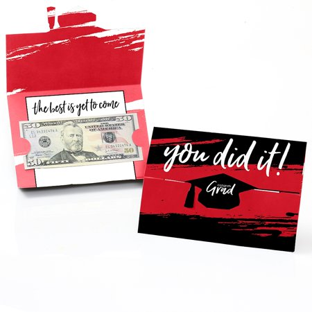 Red Grad - Best is Yet to Come - Red Graduation Party Money And Gift Card Holders - Set of 8