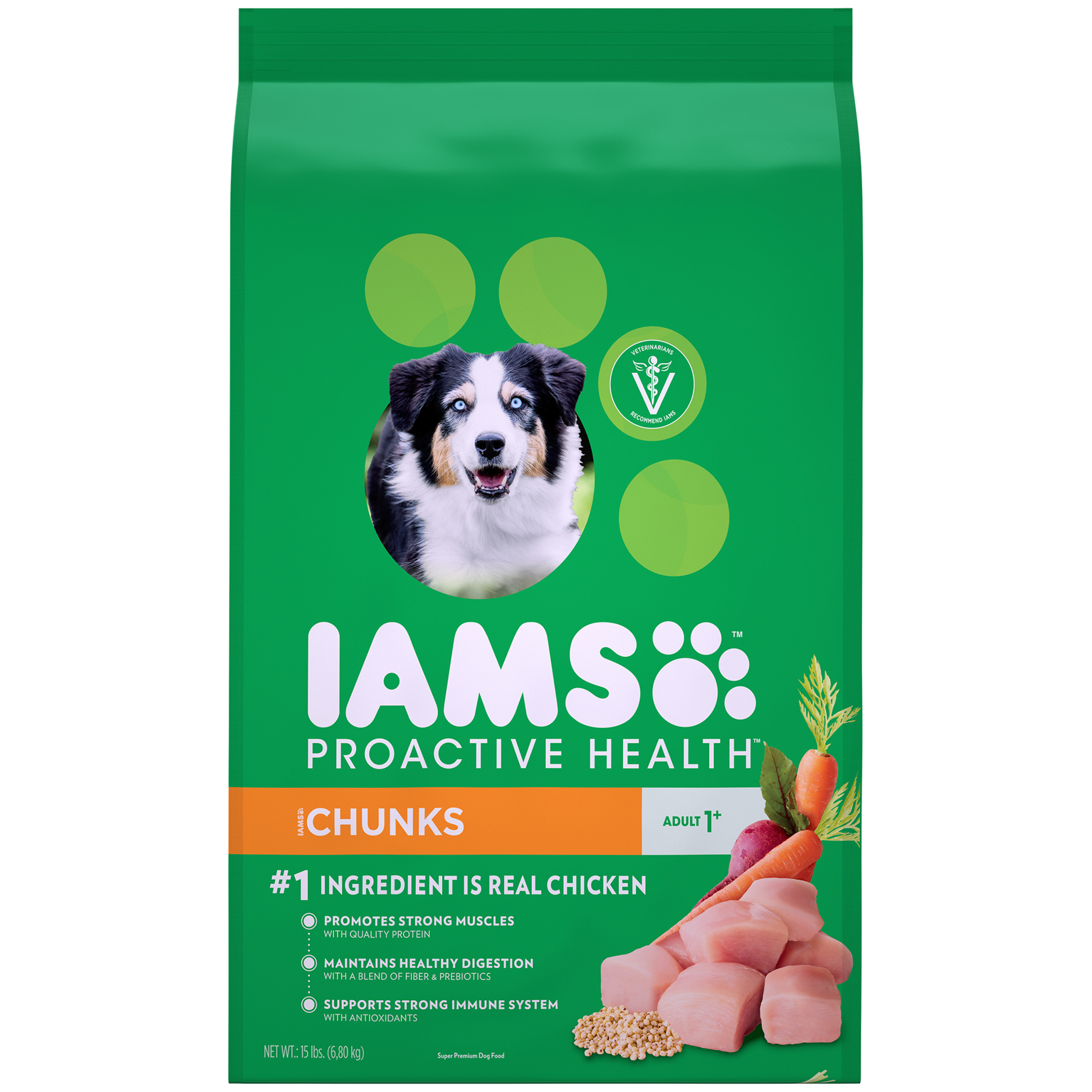 IAMS ProActive Health Chunks Dry Dog Food for All Dogs – Chicken, 15 Pound Bag