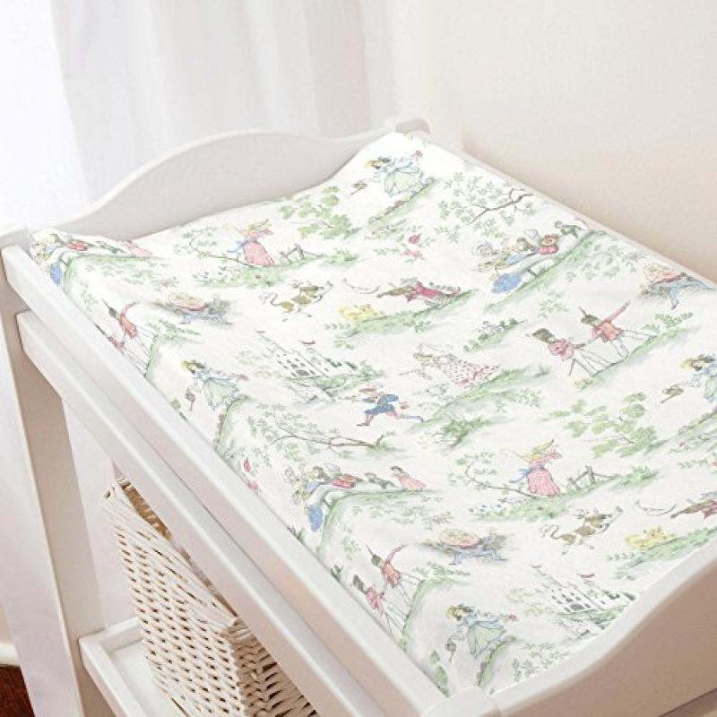Carousel Nursery Rhyme Toile Changing Pad Cover