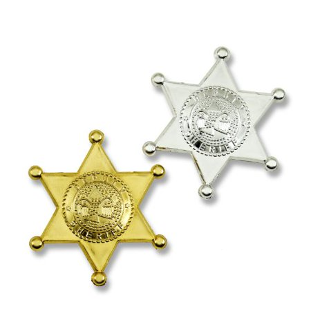 Sherriff Badge (Plastic Sheriff Badges - Gold & Silver - 12)