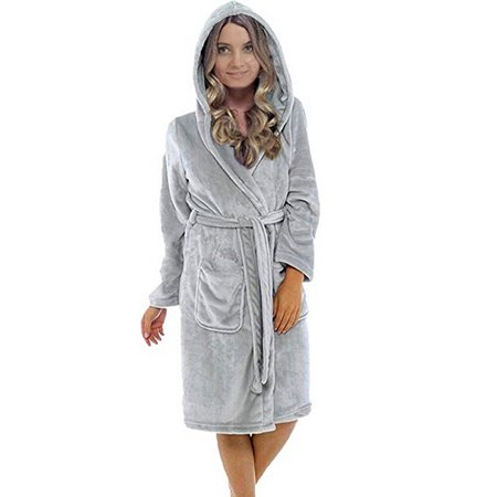 Nicesee - Women Soft Warm Flannel Fleece Hooded Long Bathrobe Pajamas Night  Gown - Walmart.com 730950dff
