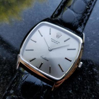 Rolex Vintage Cellini 18K Solid Gold 1974 Swiss Watch Manual on Croc LV364 ()
