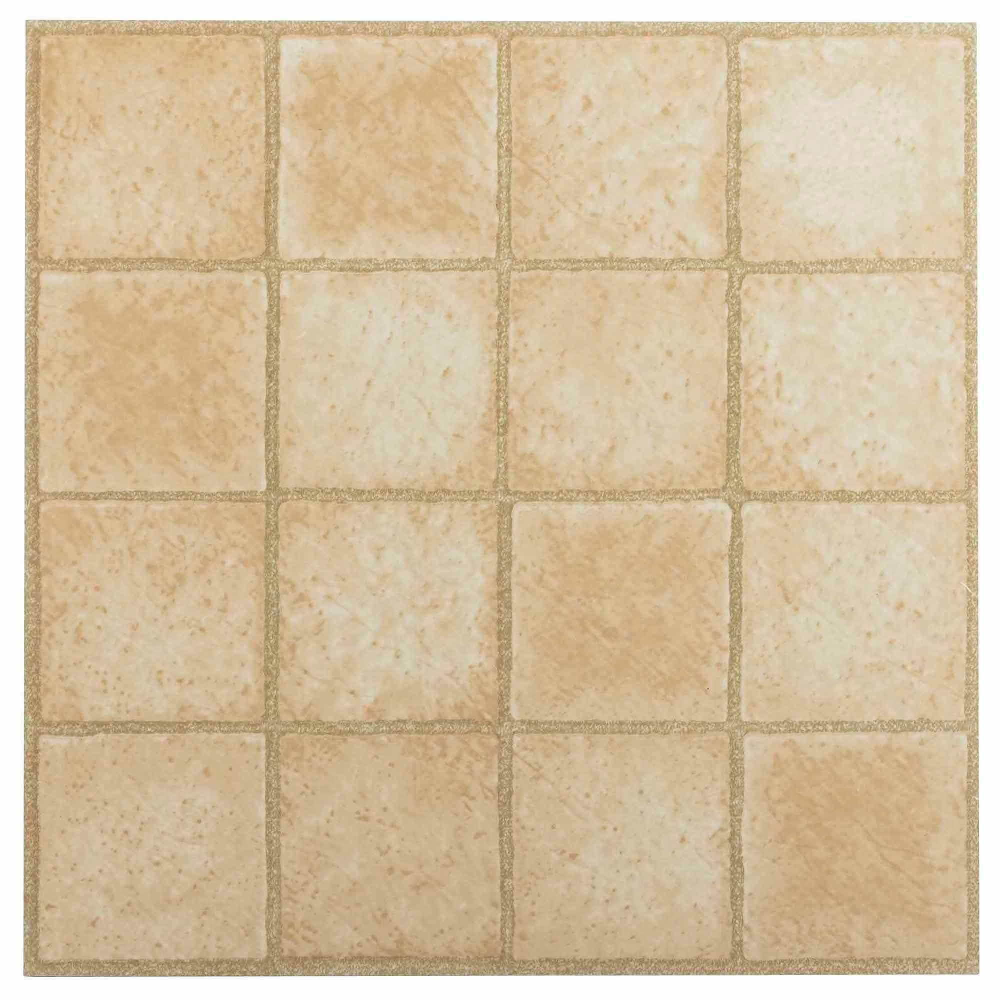 NEXUS 16 Square Sandstone 12x12 Self Adhesive Vinyl Floor Tile - 20 Tiles/20 Sq.Ft.
