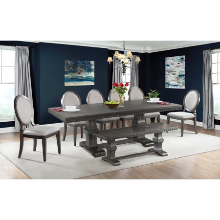 Picket House Furnishings Steele 8PC Dining Set- Table, 6 Round Fabric Chairs & Bench