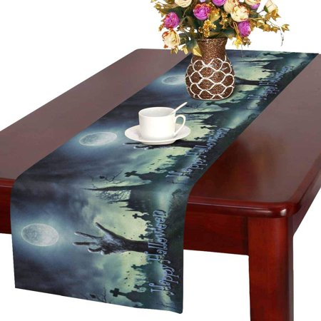 Mkhert Theme Zombie Hand Rising Out Of A Grave Table Runner Home Decor For Kitchen Dining Wedding Party 16x72 Inch