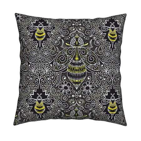 Abstract Chalkboard Filigree Throw Pillow Cover w Optional Insert by Roostery
