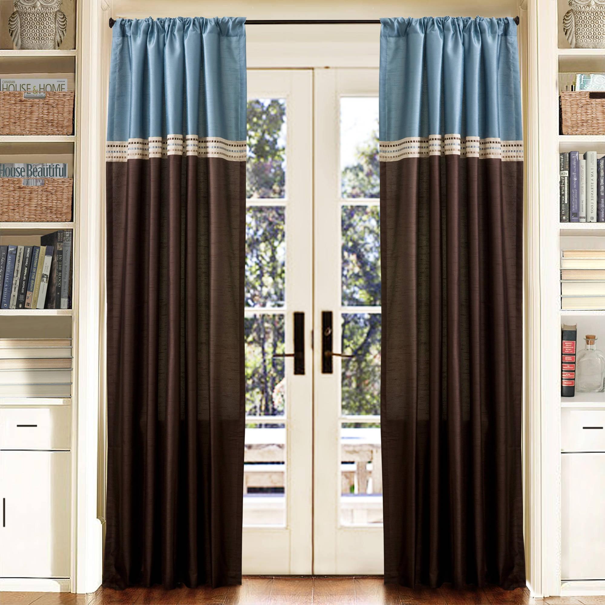 """Terra Blue/Chocolate Window Curtains, Pair, 54"""" x 84"""""""