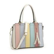 POPPY Multicolor Top Handle Satchel Tote Bag Faux Leather Handbags with Shouder Strap