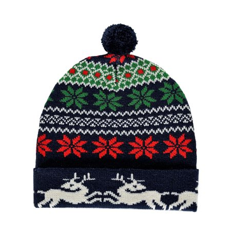 24884dfb3 RWB Abstract Fair Isle Pattern Ugly Christmas Beanie One Size Hat Navy