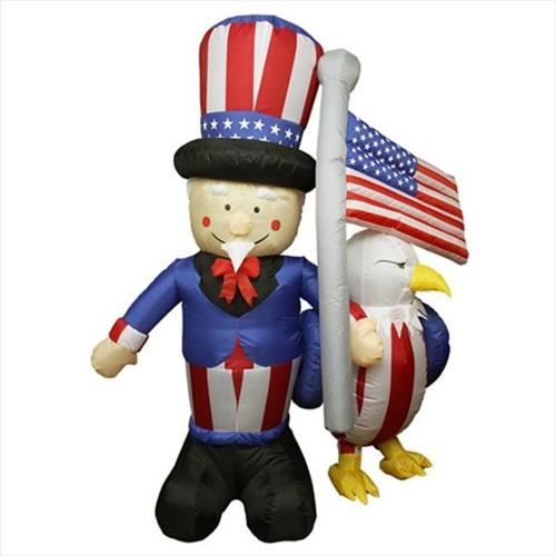 NorthLight 6 ft.  Inflatable Lighted Uncle Sam With American Flag And Eagle Yard Art Decoration