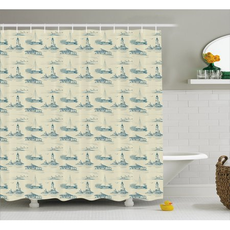 Lighthouse Shower Curtain Hand Drawn Beach Pattern Summertime Illustration Vacation Tourism Elements Fabric Bathroom Set With Hooks Beige Dark Blue