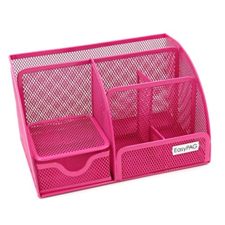 Easypag Mesh Office Desk Organizer 6 Compartments With Drawer Pink