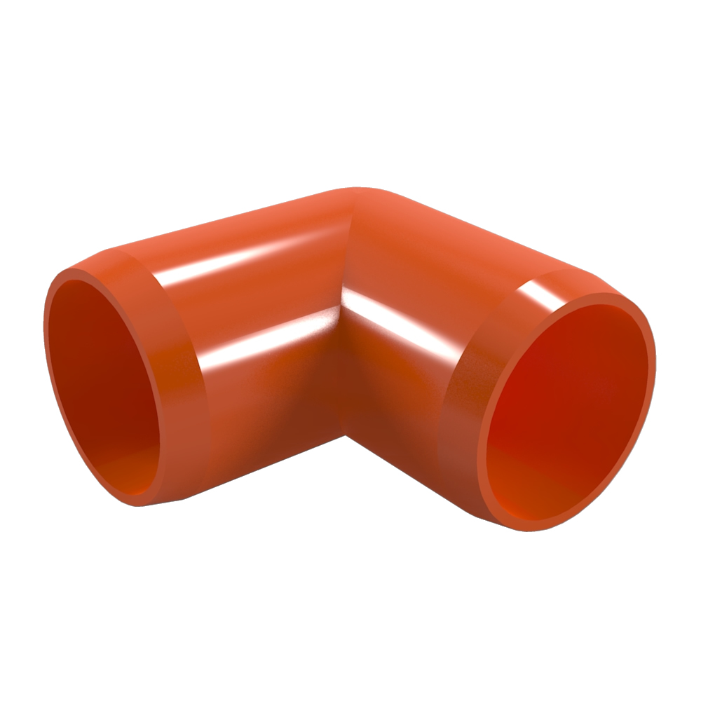 "FORMUFIT F11490E-OR-4 90 degree Elbow PVC Fitting, Furniture Grade, 1-1/4"" Size, Orange , 4-Pack"