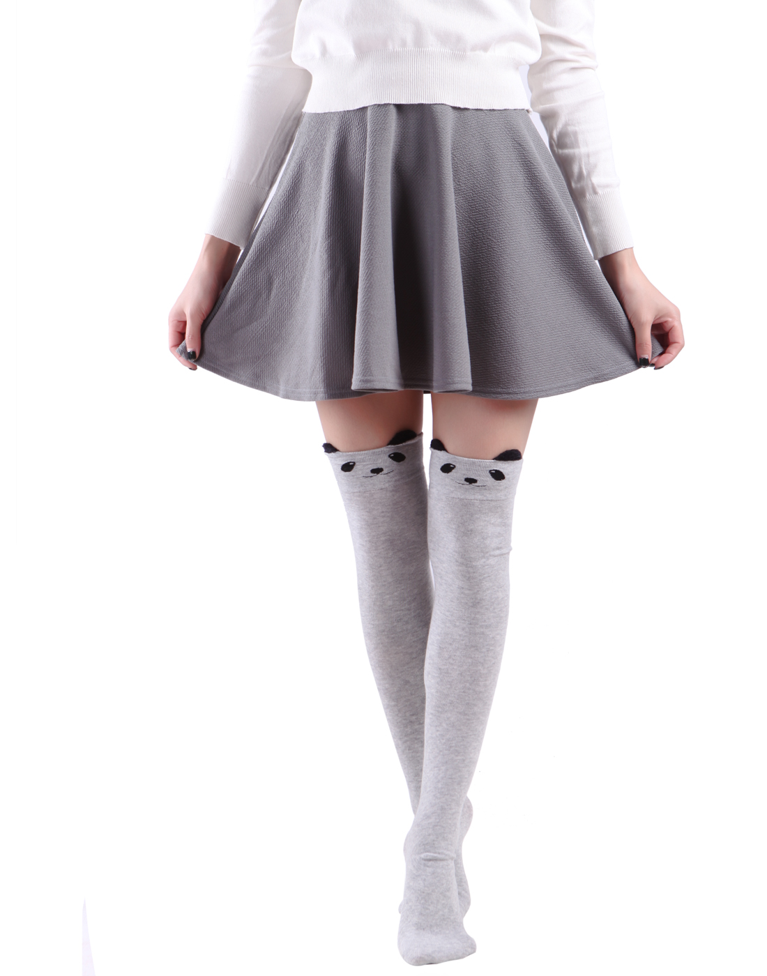 929cde67c52 HDE - HDE Women s Animal Over Knee Thigh High Socks Stockings with Ears  (Gray Bear) - Walmart.com