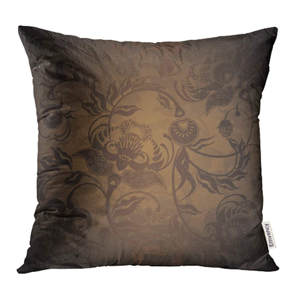 CMFUN Brown Gold Floral Design Dark Red Golden Abstract Old Detailed Flower Ornate Pillowcase Cushion Cases 20x20 inch