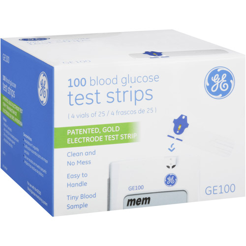 GE GE100 Blood Glucose Test Strips, 100 count