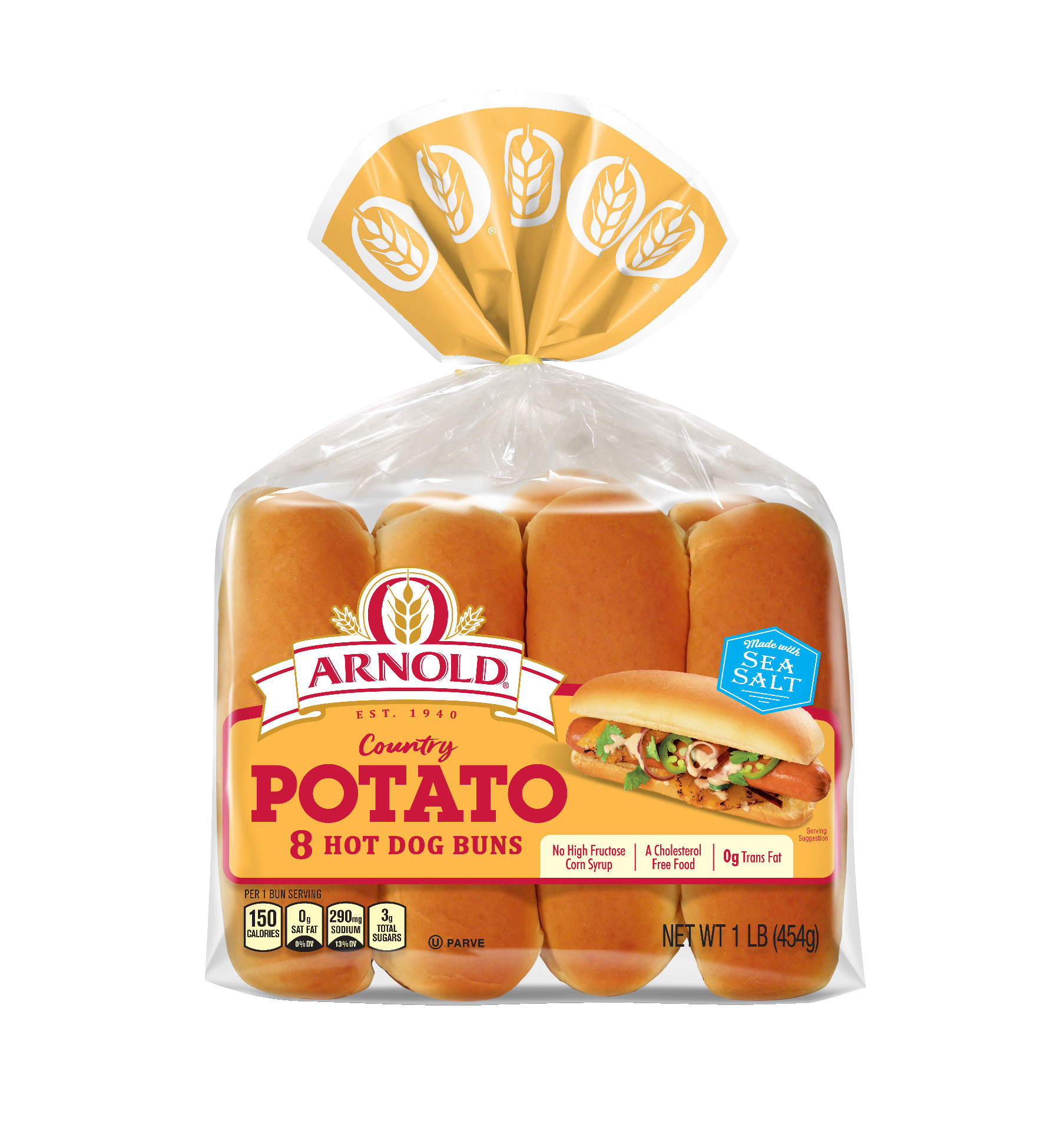 Arnold Country Potato Hotdog Rolls 8 count 15 oz