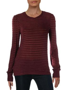 Lucky Brand Womens Striped Long Sleeves Sweatshirt Purple XS