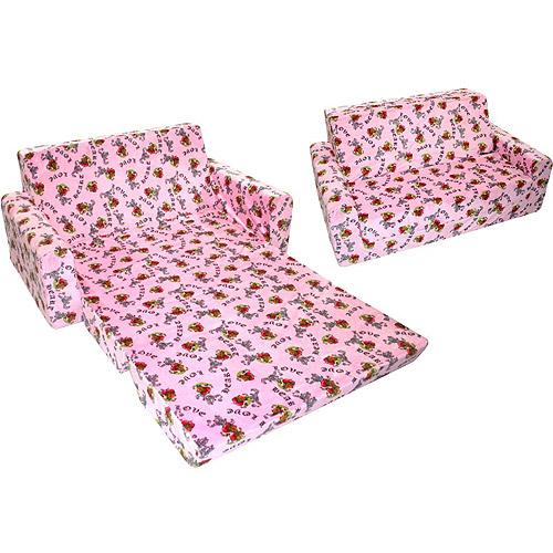 Full-Size Minky Flip Sofa, Pink Heart Tattoo