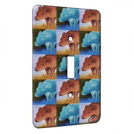 KuzmarK™ Single Gang Toggle Switch Wall Plate - American Bison Buffalo Calf Wildlife Pattern Art by Denise Every