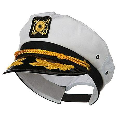 Flight Captain Hat (Sailor Ship Yacht Boat Captain Hat Navy Marines Admiral Cap Hat White Gold)