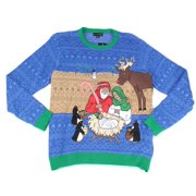 Mens Sweater Crewneck Ugly Christmas Light Up 2XL