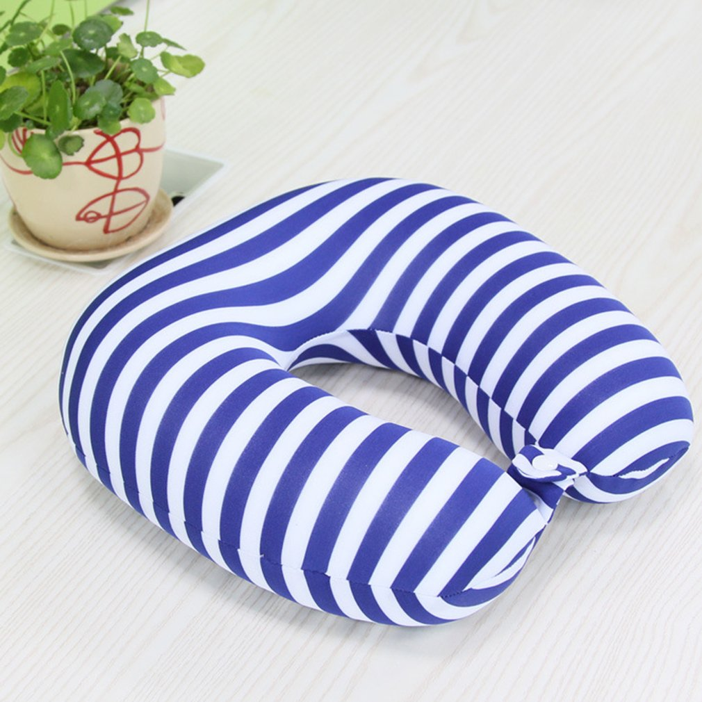 SUNNY SKY Striped U-Shaped Particle Pillow Travel Drive Pillow For Protecting Neck by konxa