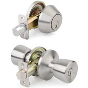 Mountain Security Keyed Entry Door Knob Tulip & Deadbolt Combo Pack, Stainless Steel